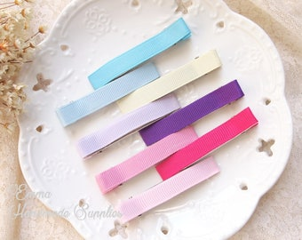 10pcs Lined Alligator Clips // Ribbon hair clips // Partially Lined Clips // 60x10mm// Assorted Colors // Double Prong