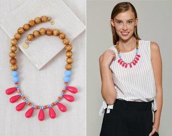 statement necklace // bib necklace // boho statement necklace / boho fashion/colorful bib necklace/Drops pendant necklace/Drops bib Necklace