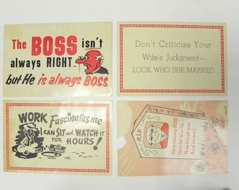 1950's Humor Giant Postcards from Old General Store.  Lot of 4.