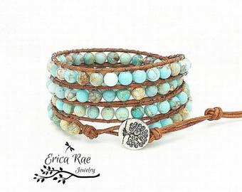 Turquoise leather wrap bracelet, beaded wrap bracelet, gemstone leather wrap bracelet, jasper bracelet, tree of life boho bracelet, beach