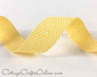"""Twill Tape, 3/4"""" width, Yellow and White Chevron  Striped Ribbon, THREE YARDS -  May Arts, Yellow Twill, Spring, Easter, Sewing Trim, Ribbon"""
