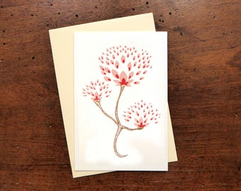 "Card ""Lotus"" - silkscreen - bronze, pink, Red - ivory envelope"