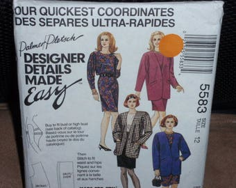 McCall's 5583 Palmer Pletsch Designer Lined and Unlined Jacket, Top and Skirt  Size 12  New- Uncut