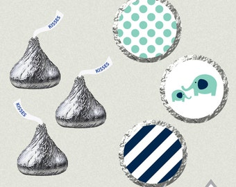 Hershey Kiss Labels, Blue Elephant Baby Shower, Baby Boy, Printable Kisses, Kiss Labels, Kiss Stickers, Baby Shower Printables, DIY Kisses