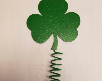 """St Patrick's Day Clover/Shamrock Tree Topper 5""""x4"""" Get it personalized with laser etching or vinyl lettering."""