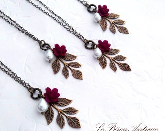 Bridesmaids gift leaf necklaces with burgundy flower and white pearl