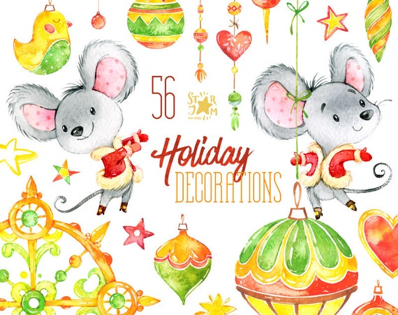 Holiday Decorations Christmas Watercolor Clipart Mouses