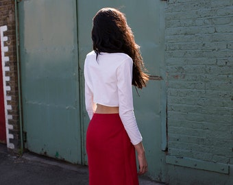 Fair Trade Basics White Cropped T-Sweater FINAL SALE PRICE
