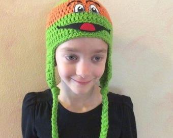 Ninja Turtle Michaelangelo Ear Flap Hat