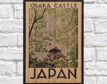 Japan Travel Poster Vintage Japanese Travel decor Japanese Travel art print Wood wall decor Travel gift for Women panel effect Wood wall art