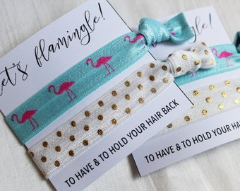 Let's Flamingle Hair Ties, Elastic Hair Ties, Elastic Wrist Bands/Bracelets, Party Favors, Wedding Favors, Hair Tie Favors