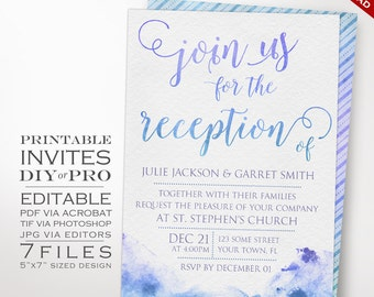 Wedding Invitation Template - Watercolor Reception Invitation - Printable DIY Painted Watercolor Wedding Invitation Editable Wedding Invite