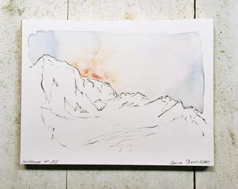 minimal abstract landscape, original watercolor mountain painting, 6x8, landscape no. 137
