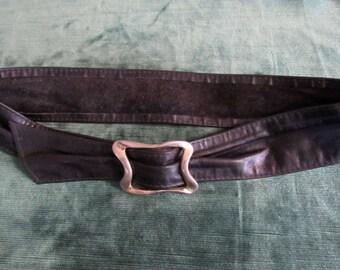 Vintage Black Glove Leather Cinch Belt