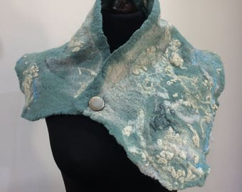 "Handmade Felt Cowl Scarf ""Seas"""