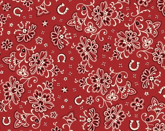 RODEO ROUNDUP Henry Glass  RED bandana print quilters cotton fabric by the half yard 6906-88