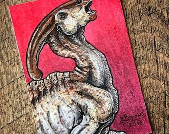 Parasaurolophus Sketch Card - Jurassic World / The Lost World: Jurassic Park