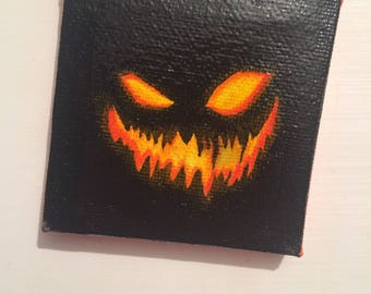 Jack-O'-Lantern Canvas Painting (Varnished)
