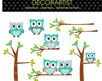 ON SALE Digital clipart owls, Owls and the branch, owls tree clipart, teal and grey, INSTANT Download