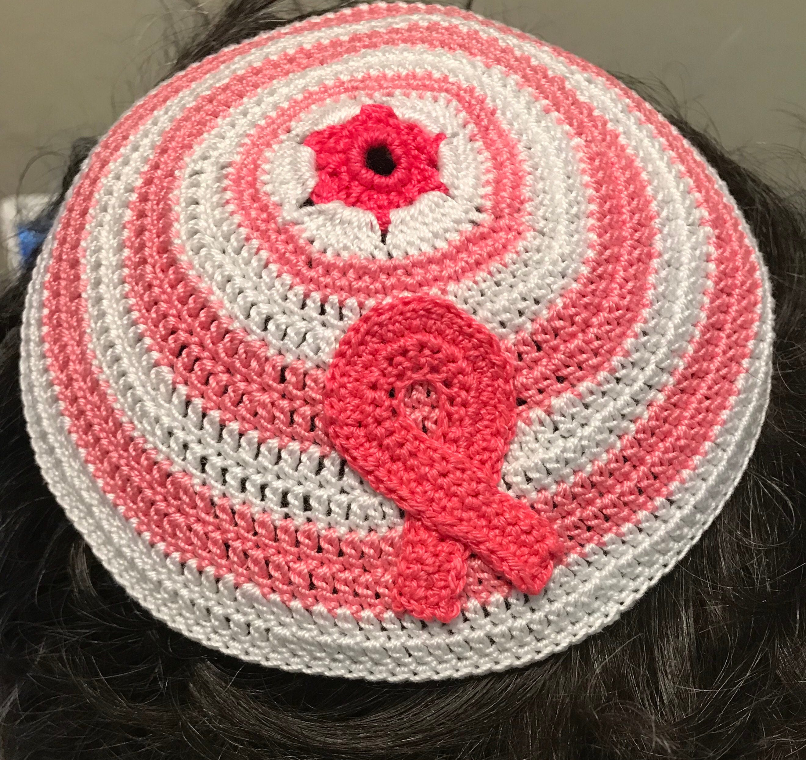 Kippah Jewish breast cancer awareness ribbon yarmulke or ANY