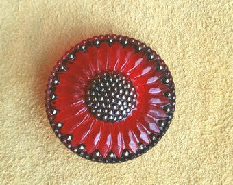 32mm Red and black Sunflower Czech glass button