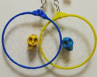 Yellow and Blue Skull Dreamcatcher Earrings