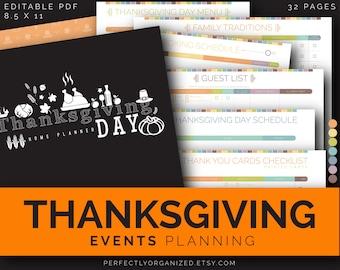 Thanksgiving Day Holiday Planner Organizer Printable || Colorful Printable Planner Organizer Binder DIY || Household PDF Printables DIY