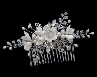 Bridal Headpiece, Wedding Headpiece, Bridal Comb, Bridal Accessories, Wedding Comb, Wedding Accessories, Hair Jewellery   FLEUR Silver