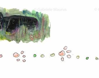 INSTANT download / Black CAT in grass // letterhead clipart illustration  stationery design