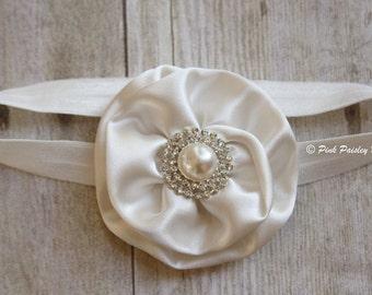 Ivory Baby Headband - Baptism Headband - Christening - Baby Girl Flower Headband - Flower Girl Headband. Baby Hair Accessories