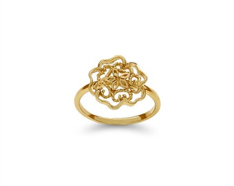 14k solid gold flower motif ring. floral jewelry. flower ring