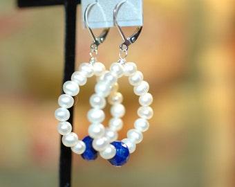 White Fresh Water Pearl and Lapis Lazuli Hoop Earrings