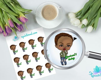 I Just Can't Today XQuibi African American Planner Stickers / Black Girl Chibi Stickers