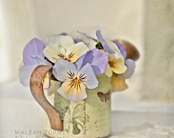 Violet Flowers, Still Life Photography, Purple and Yellow, Flower Photo, Cottage Chic Print, Large Wall Art, Mothers Day Gift Idea, Violets
