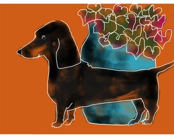 Dachshund print with Pot of Geraniums- Sausage Dog - German Weiner - Doxie
