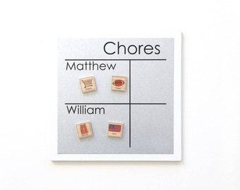 Multiple Name Chore Chart - 9 x 9 Magnet Board - Personalized Chore Board with 2-3 names - Magnetic Chore Chart - With Optional Magnets