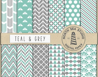 COLOR INSPIRATION | Teal And Grey Paper Pack | Scrapbooking Digital Paper | Printable Backgrounds | 12 JPG, 300dpi Files | BUY5FOR8