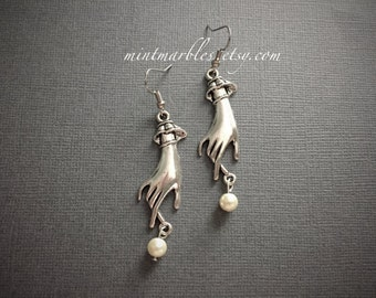 Silver Victorian Hand with Beige Pearl Earrings. Dangle Earrings. Under 15 Gifts for Her. Elegant. Simple. Unique Silver Earrings. Art Deco.