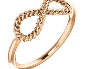 Rope Infinity Ring - 14k, 18k Yellow, Rose, White Gold & Platinum. Stackable Rings. Fine Jewelry. Anniversary Gift Idea