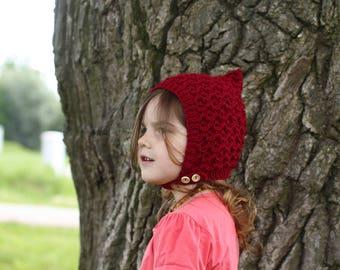 handmade knitted baby bonnet, newborn bonnet, toddler bonnet, pixie bonnet, red bonnet, spring bonnet, autumn bonnet, little red riding hood