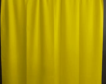 Solid Poplin Curtain Panel / Window Decor / Window Treatments / Backdrop Lemon Yellow