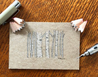 Small Birch Trees on Cardboard