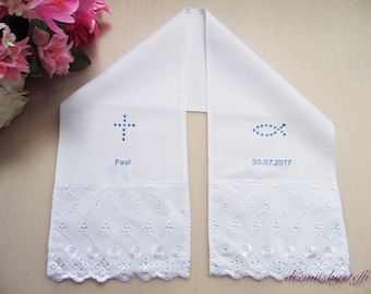 Christening scarf 100% Cotton lace /motifs of glass