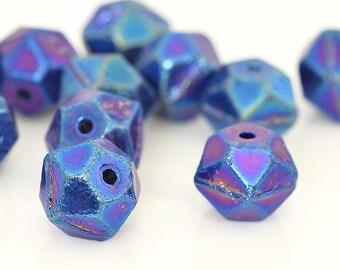 Blue English Cut Beads, Czech Glass Rough Cut, Metallic Blue Glass Beads, Faceted Blue Glass Beads, 9x10mm - 15 beads (ENG-08)