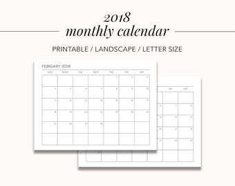 2018 Monthly Calendar, Printable Calendar, School Calendar, Back to School Calendar Calendar 2018 Homeschool Calendar Printable Menu Planner