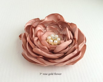 Rose Gold Flower Hair Piece.Rose Gold Fascinator.Flower Brooch.Hair Pin.Flower Hair Clip.Bridal Headpiece.Hair accessory.Rosegold Headpiece
