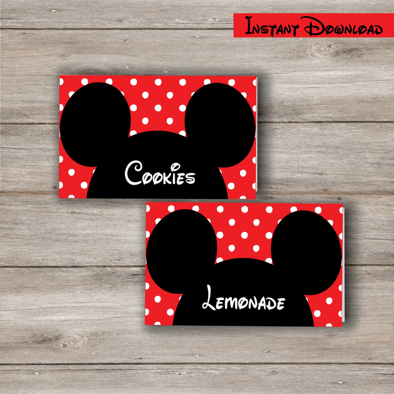 Mickey Mouse Food Tent Cards with Changeable Text Printable