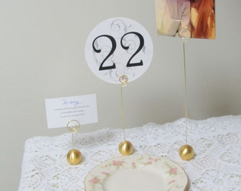 6 Gold Table Number Holders Ideal for Weddings, Parties and Special Events Use in Floral Arrangements, for Menus, Place Cards, Photos, Signs
