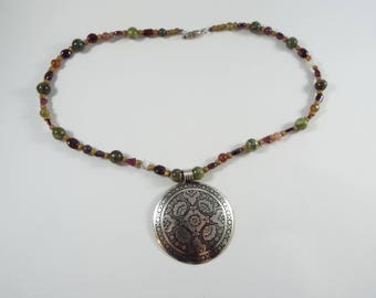 Understated Metal  Disc Pendant Necklace