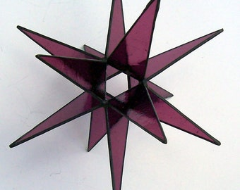 Dusty Rose Gold, 12 Point, 3-D Stained Glass Moravian Star, Achievement Award, Gift, Home Decor, 3-D Stained Glass Stars, Hanging Ornament,